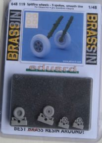 ED648119 1/48 Supermarine Spitfire wheels - 5 spoke, smooth tyre